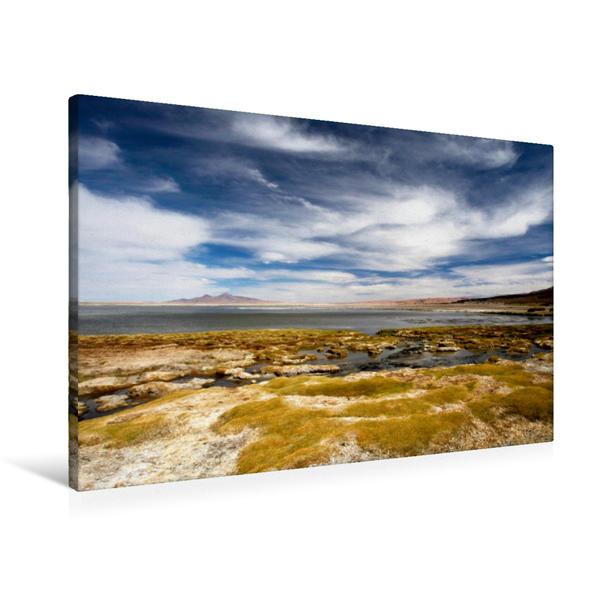 Premium Textil-Leinwand 90 cm x 60 cm quer, Salzsee Tara | Wandbild, Bild auf Keilrahmen, Fertigbild auf echter Leinwand, Leinwanddruck - Coverbild