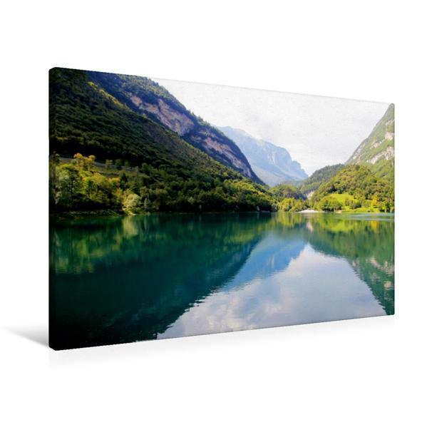 Premium Textil-Leinwand 90 cm x 60 cm quer, Lago di Tenno | Wandbild, Bild auf Keilrahmen, Fertigbild auf echter Leinwand, Leinwanddruck - Coverbild