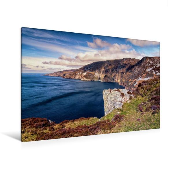 Premium Textil-Leinwand 120 cm x 80 cm quer, Ein Motiv aus dem Kalender Irland, grüne Insel mit rauer Küste | Wandbild, Bild auf Keilrahmen, Fertigbild auf echter Leinwand, Leinwanddruck - Coverbild