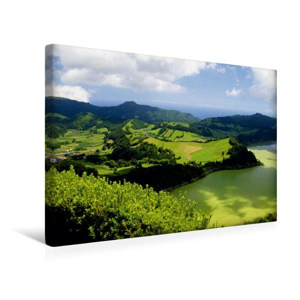 Premium Textil-Leinwand 45 cm x 30 cm quer, Miradouro über dem Lagoa das Furnas | Wandbild, Bild auf Keilrahmen, Fertigbild auf echter Leinwand, Leinwanddruck - Coverbild