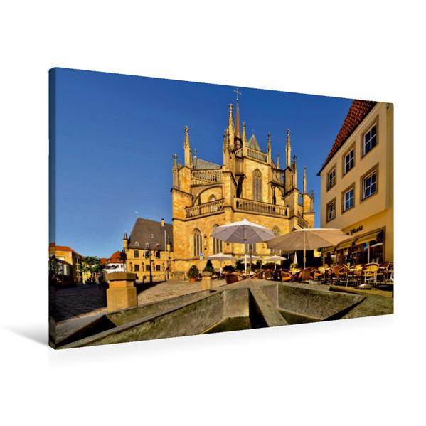 Premium Textil-Leinwand 90 cm x 60 cm quer, Marienkirche Osnabrück | Wandbild, Bild auf Keilrahmen, Fertigbild auf echter Leinwand, Leinwanddruck - Coverbild