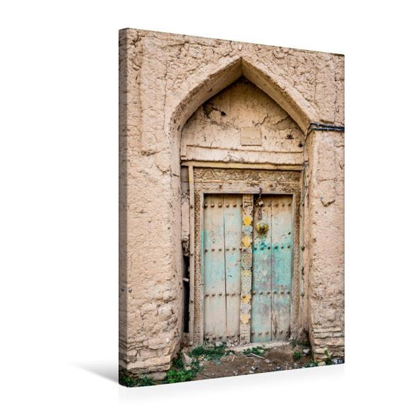 Premium Textil-Leinwand 50 cm x 75 cm hoch, Tür in einem verlassenem Dorf im Oman | Wandbild, Bild auf Keilrahmen, Fertigbild auf echter Leinwand, Leinwanddruck - Coverbild