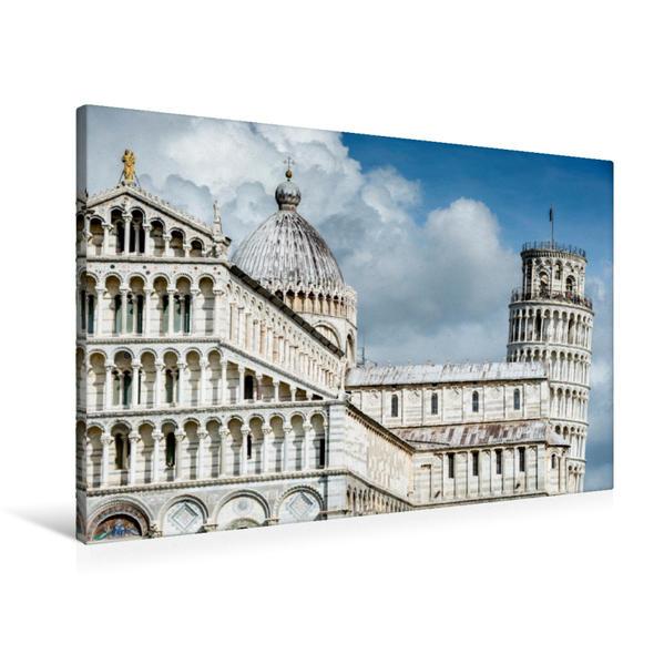 Premium Textil-Leinwand 90 cm x 60 cm quer, Santa Maria Assunta mit schiefen Turm von Pisa | Wandbild, Bild auf Keilrahmen, Fertigbild auf echter Leinwand, Leinwanddruck - Coverbild