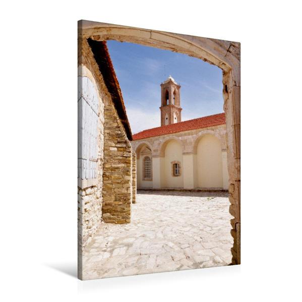 Premium Textil-Leinwand 60 cm x 90 cm hoch, Der schöne Kirchgang der Kirche in Lefkara   Wandbild, Bild auf Keilrahmen, Fertigbild auf echter Leinwand, Leinwanddruck - Coverbild