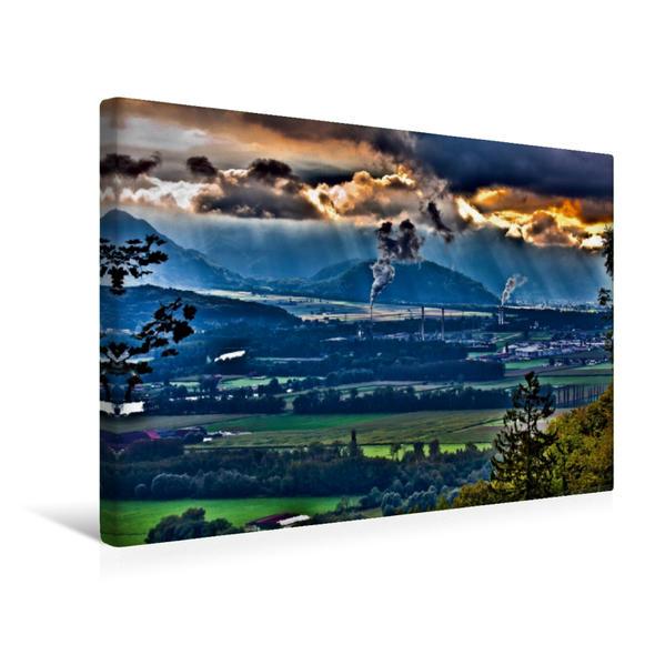 Premium Textil-Leinwand 45 cm x 30 cm quer, das Rhonetal, Blick von Vionnaz, Schweiz | Wandbild, Bild auf Keilrahmen, Fertigbild auf echter Leinwand, Leinwanddruck - Coverbild