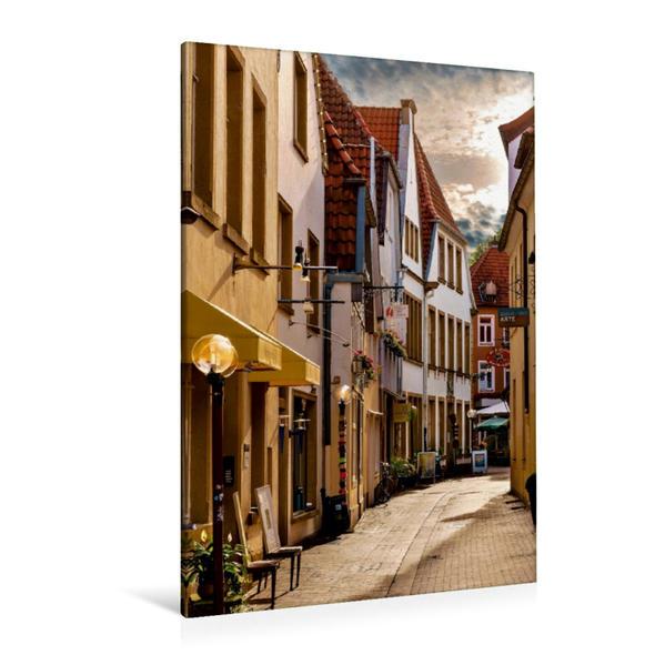 Premium Textil-Leinwand 80 cm x 120 cm  hoch, Altstadt Osnabrück | Wandbild, Bild auf Keilrahmen, Fertigbild auf echter Leinwand, Leinwanddruck - Coverbild