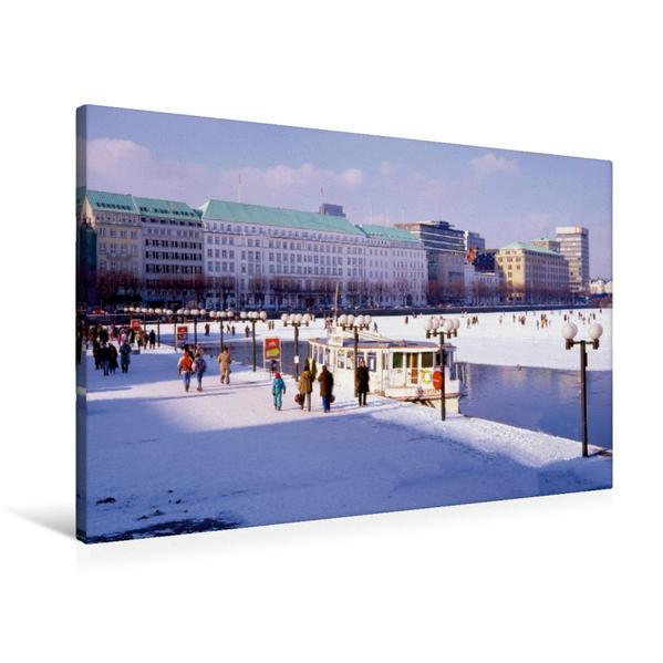Premium Textil-Leinwand 90 cm x 60 cm quer, Winter in Hamburg an der Binnenalster | Wandbild, Bild auf Keilrahmen, Fertigbild auf echter Leinwand, Leinwanddruck - Coverbild