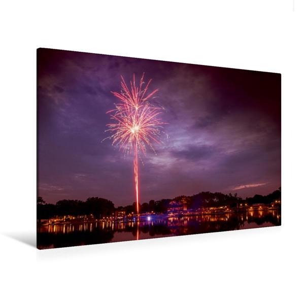 Premium Textil-Leinwand 120 cm x 80 cm quer, Feuerwerk am Aasee   Wandbild, Bild auf Keilrahmen, Fertigbild auf echter Leinwand, Leinwanddruck - Coverbild
