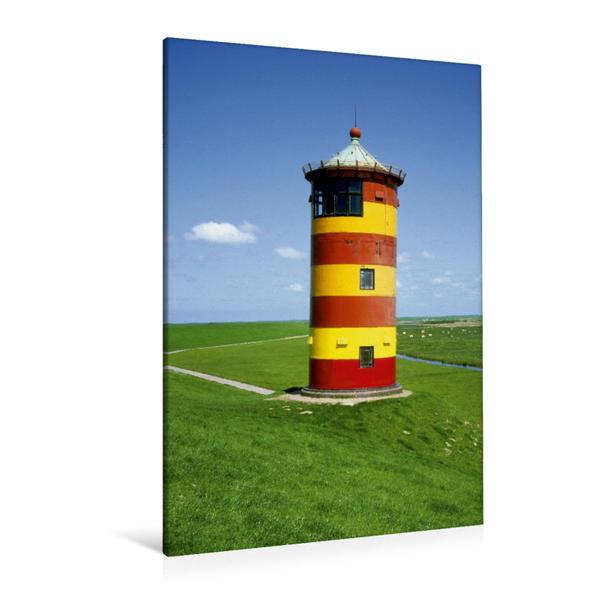 Premium Textil-Leinwand 80 cm x 120 cm  hoch, Leuchtturm Pilsum | Wandbild, Bild auf Keilrahmen, Fertigbild auf echter Leinwand, Leinwanddruck - Coverbild