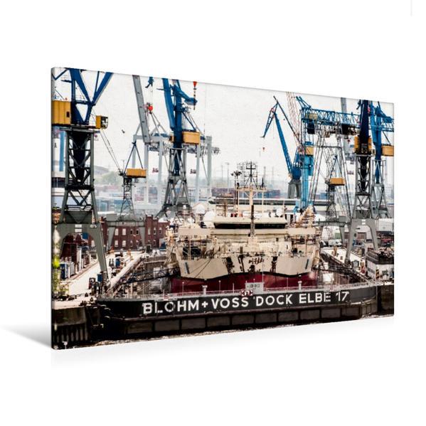 Premium Textil-Leinwand 120 cm x 80 cm quer, Schiff in der  Hamburger Werft | Wandbild, Bild auf Keilrahmen, Fertigbild auf echter Leinwand, Leinwanddruck - Coverbild