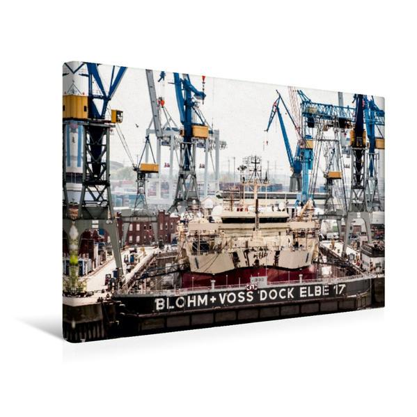 Premium Textil-Leinwand 45 cm x 30 cm quer, Schiff in der  Hamburger Werft | Wandbild, Bild auf Keilrahmen, Fertigbild auf echter Leinwand, Leinwanddruck - Coverbild