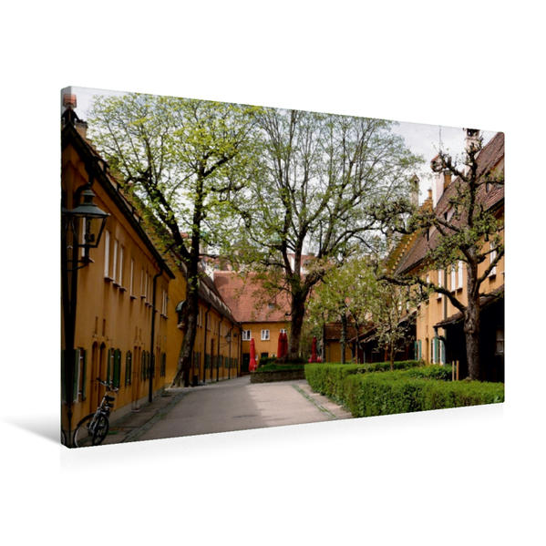 Premium Textil-Leinwand 75 cm x 50 cm quer, Die Fuggerei in Augsburg | Wandbild, Bild auf Keilrahmen, Fertigbild auf echter Leinwand, Leinwanddruck - Coverbild