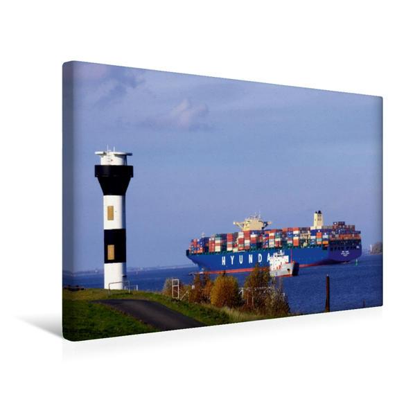 Premium Textil-Leinwand 45 cm x 30 cm quer, Leuchtturm Elbe, bei Stade | Wandbild, Bild auf Keilrahmen, Fertigbild auf echter Leinwand, Leinwanddruck - Coverbild
