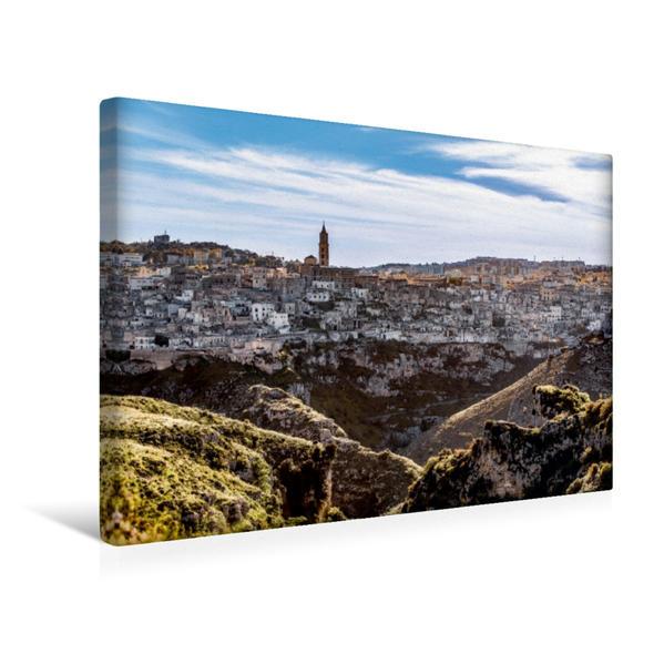 Premium Textil-Leinwand 45 cm x 30 cm quer, Matera Panorama | Wandbild, Bild auf Keilrahmen, Fertigbild auf echter Leinwand, Leinwanddruck - Coverbild