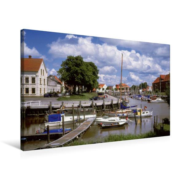 Premium Textil-Leinwand 75 cm x 50 cm quer, Fischerhafen Greetsiel   Wandbild, Bild auf Keilrahmen, Fertigbild auf echter Leinwand, Leinwanddruck - Coverbild