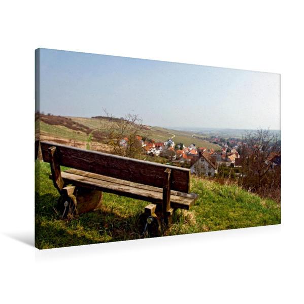 Premium Textil-Leinwand 90 cm x 60 cm quer, Rast über dem Dorf | Wandbild, Bild auf Keilrahmen, Fertigbild auf echter Leinwand, Leinwanddruck - Coverbild