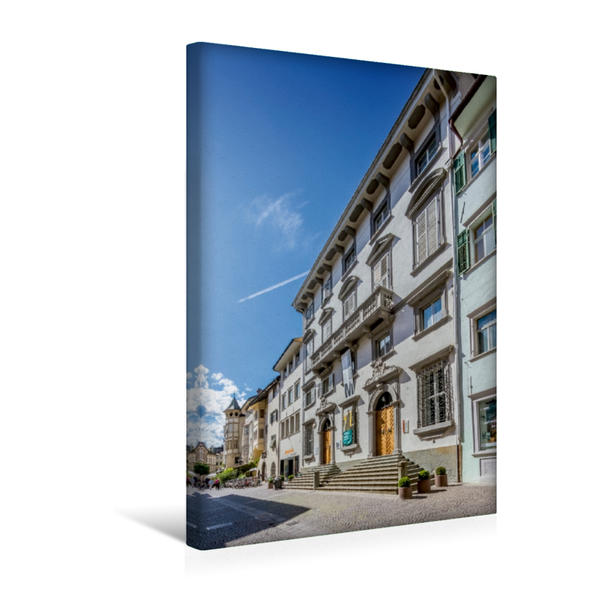Premium Textil-Leinwand 30 cm x 45 cm hoch, BOZEN Silbergasse und Merkantilmuseum | Wandbild, Bild auf Keilrahmen, Fertigbild auf echter Leinwand, Leinwanddruck - Coverbild