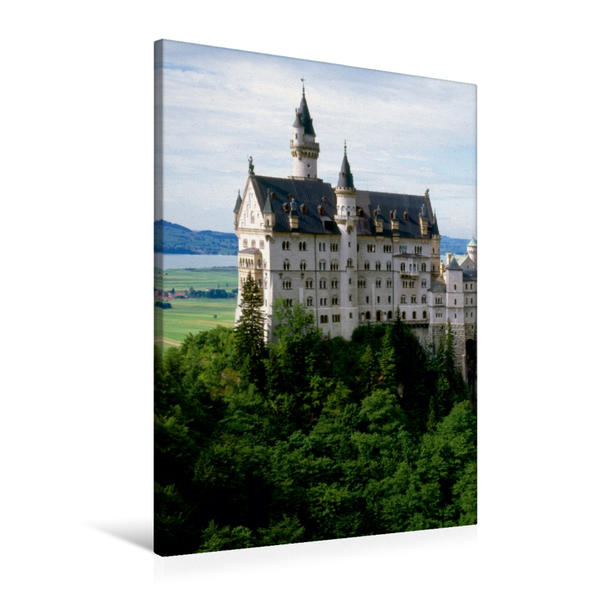 Premium Textil-Leinwand 60 cm x 90 cm hoch, Schloss Neuschwanstein | Wandbild, Bild auf Keilrahmen, Fertigbild auf echter Leinwand, Leinwanddruck - Coverbild