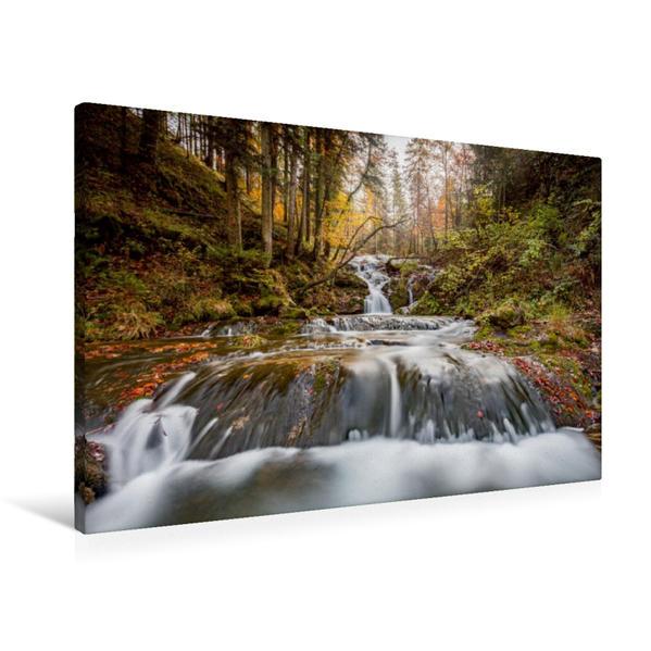 Premium Textil-Leinwand 90 cm x 60 cm quer, Wasserfall im Chiemgau, Deutschland | Wandbild, Bild auf Keilrahmen, Fertigbild auf echter Leinwand, Leinwanddruck - Coverbild