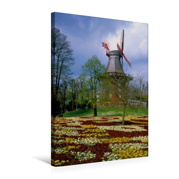 Premium Textil-Leinwand 50 cm x 75 cm hoch, Windmühle in Bremer Park   Wandbild, Bild auf Keilrahmen, Fertigbild auf echter Leinwand, Leinwanddruck - Coverbild