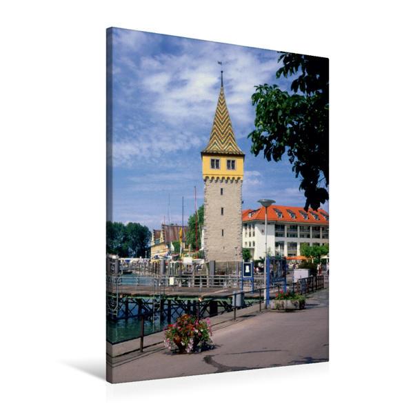Premium Textil-Leinwand 60 cm x 90 cm hoch, Mangturm im Hafen von Lindau | Wandbild, Bild auf Keilrahmen, Fertigbild auf echter Leinwand, Leinwanddruck - Coverbild