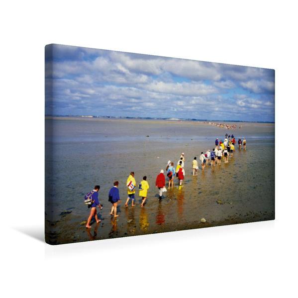 Premium Textil-Leinwand 45 cm x 30 cm quer, Wattwandern im Nordfriesischen Wattenmeer | Wandbild, Bild auf Keilrahmen, Fertigbild auf echter Leinwand, Leinwanddruck - Coverbild
