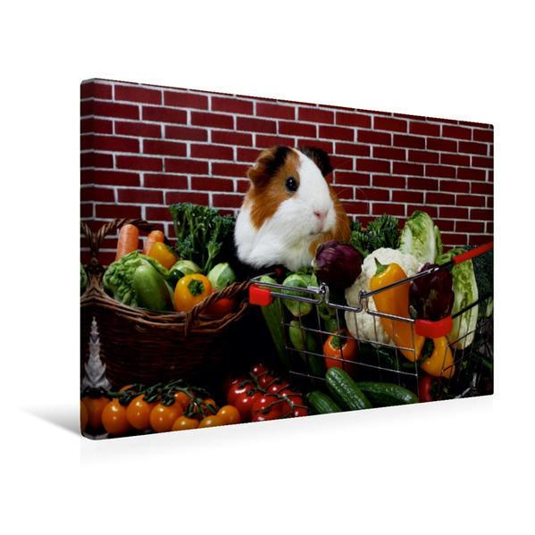 Premium Textil-Leinwand 45 cm x 30 cm quer, Im Gemüseladen | Wandbild, Bild auf Keilrahmen, Fertigbild auf echter Leinwand, Leinwanddruck - Coverbild