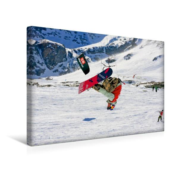 Premium Textil-Leinwand 45 cm x 30 cm quer, Ein Motiv aus dem Kalender Snowkiting | Wandbild, Bild auf Keilrahmen, Fertigbild auf echter Leinwand, Leinwanddruck - Coverbild