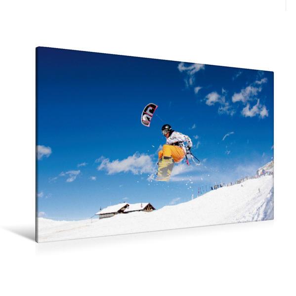 Premium Textil-Leinwand 120 cm x 80 cm quer, Ein Motiv aus dem Kalender Snowkiting | Wandbild, Bild auf Keilrahmen, Fertigbild auf echter Leinwand, Leinwanddruck - Coverbild