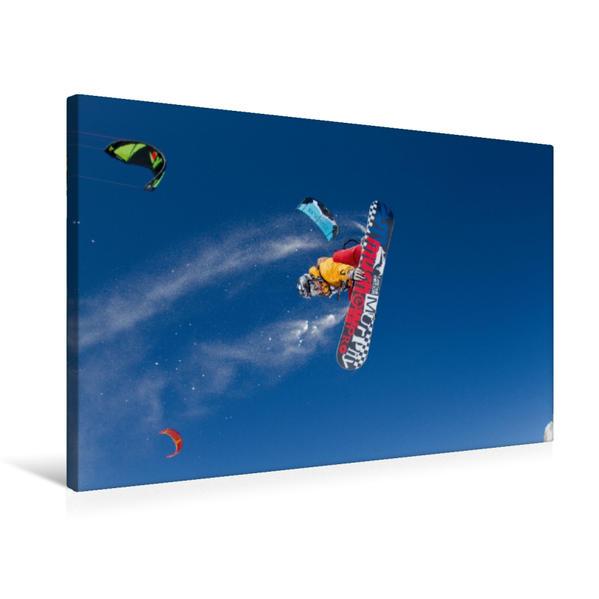 Premium Textil-Leinwand 75 cm x 50 cm quer, Ein Motiv aus dem Kalender Snowkiting | Wandbild, Bild auf Keilrahmen, Fertigbild auf echter Leinwand, Leinwanddruck - Coverbild