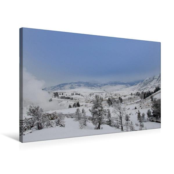 Premium Textil-Leinwand 75 cm x 50 cm quer, Mammoth Hot Springs | Wandbild, Bild auf Keilrahmen, Fertigbild auf echter Leinwand, Leinwanddruck - Coverbild