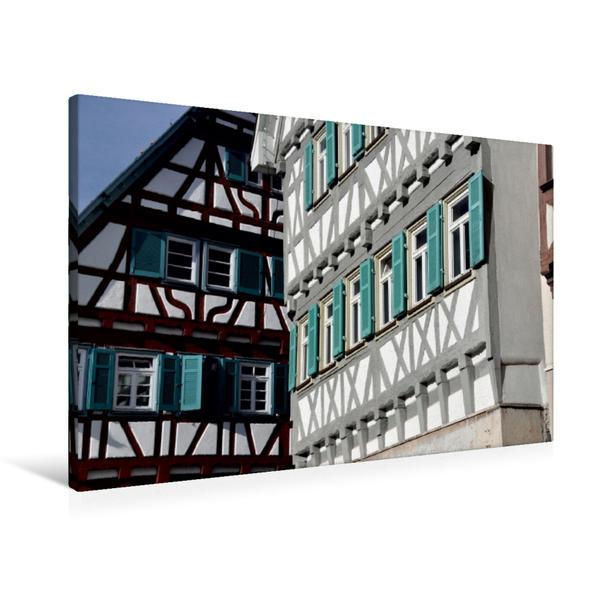 Premium Textil-Leinwand 90 cm x 60 cm quer, Fachwerk in Herrenberg | Wandbild, Bild auf Keilrahmen, Fertigbild auf echter Leinwand, Leinwanddruck - Coverbild