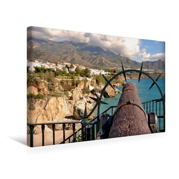 Premium Textil-Leinwand 45 cm x 30 cm quer, Panorama Nerja   Wandbild, Bild auf Keilrahmen, Fertigbild auf echter Leinwand, Leinwanddruck - Coverbild