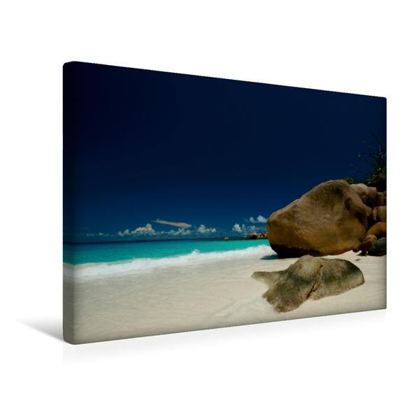 Premium Textil-Leinwand 45 cm x 30 cm quer, Praslin Anse Lazio | Wandbild, Bild auf Keilrahmen, Fertigbild auf echter Leinwand, Leinwanddruck - Coverbild