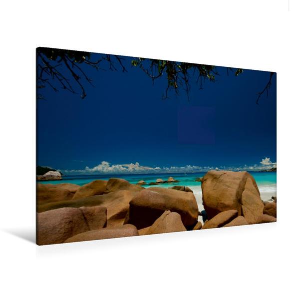Premium Textil-Leinwand 120 cm x 80 cm quer, Anse Lazio Praslin | Wandbild, Bild auf Keilrahmen, Fertigbild auf echter Leinwand, Leinwanddruck - Coverbild