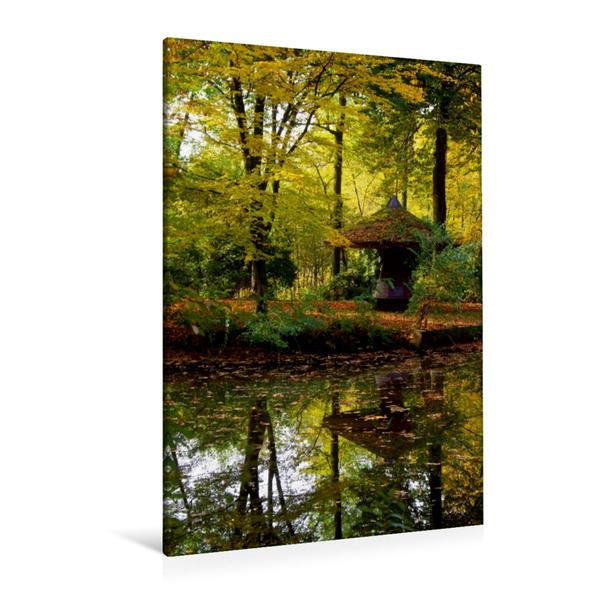 Premium Textil-Leinwand 80 cm x 120 cm  hoch, Herbstimpression am See | Wandbild, Bild auf Keilrahmen, Fertigbild auf echter Leinwand, Leinwanddruck - Coverbild