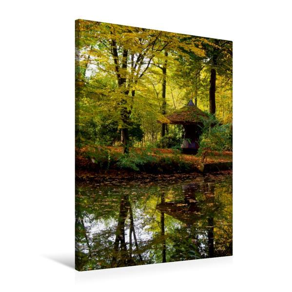 Premium Textil-Leinwand 60 cm x 90 cm hoch, Herbstimpression am See | Wandbild, Bild auf Keilrahmen, Fertigbild auf echter Leinwand, Leinwanddruck - Coverbild