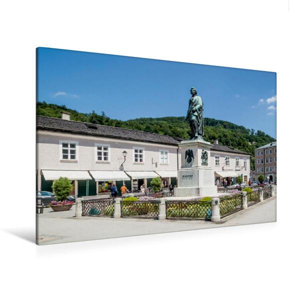 Premium Textil-Leinwand 120 cm x 80 cm quer, SALZBURG Mozartplatz | Wandbild, Bild auf Keilrahmen, Fertigbild auf echter Leinwand, Leinwanddruck - Coverbild