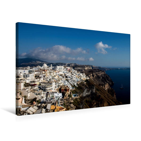 Premium Textil-Leinwand 75 cm x 50 cm quer, Santorin | Wandbild, Bild auf Keilrahmen, Fertigbild auf echter Leinwand, Leinwanddruck - Coverbild