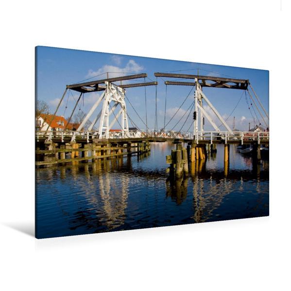 Premium Textil-Leinwand 120 cm x 80 cm quer, Holzklappbrücke in Wieck | Wandbild, Bild auf Keilrahmen, Fertigbild auf echter Leinwand, Leinwanddruck - Coverbild