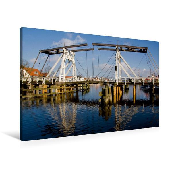 Premium Textil-Leinwand 90 cm x 60 cm quer, Holzklappbrücke in Wieck | Wandbild, Bild auf Keilrahmen, Fertigbild auf echter Leinwand, Leinwanddruck - Coverbild