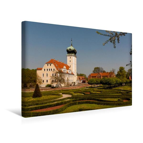 Premium Textil-Leinwand 45 cm x 30 cm quer, Schloss in Delitzsch | Wandbild, Bild auf Keilrahmen, Fertigbild auf echter Leinwand, Leinwanddruck - Coverbild