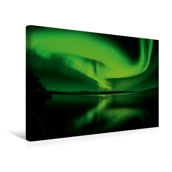 Premium Textil-Leinwand 45 cm x 30 cm quer, Nordlichttanz   Wandbild, Bild auf Keilrahmen, Fertigbild auf echter Leinwand, Leinwanddruck - Coverbild