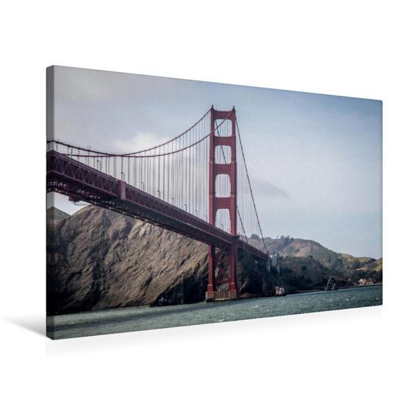 Premium Textil-Leinwand 75 cm x 50 cm quer, Golden Gate Bridge, CA | Wandbild, Bild auf Keilrahmen, Fertigbild auf echter Leinwand, Leinwanddruck - Coverbild