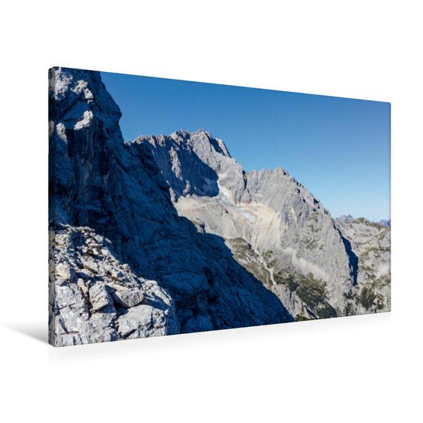 Premium Textil-Leinwand 90 cm x 60 cm quer, Zugspitze | Wandbild, Bild auf Keilrahmen, Fertigbild auf echter Leinwand, Leinwanddruck - Coverbild