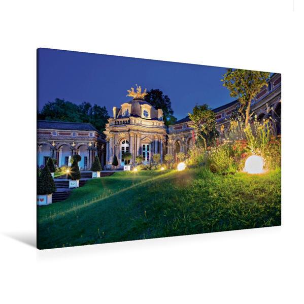 Premium Textil-Leinwand 120 cm x 80 cm quer, Neues Schloss Eremitage bei Nacht   Wandbild, Bild auf Keilrahmen, Fertigbild auf echter Leinwand, Leinwanddruck - Coverbild