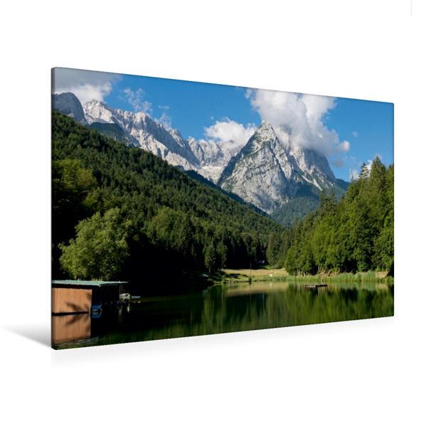 Premium Textil-Leinwand 120 cm x 80 cm quer, See mit Bergkulisse | Wandbild, Bild auf Keilrahmen, Fertigbild auf echter Leinwand, Leinwanddruck - Coverbild