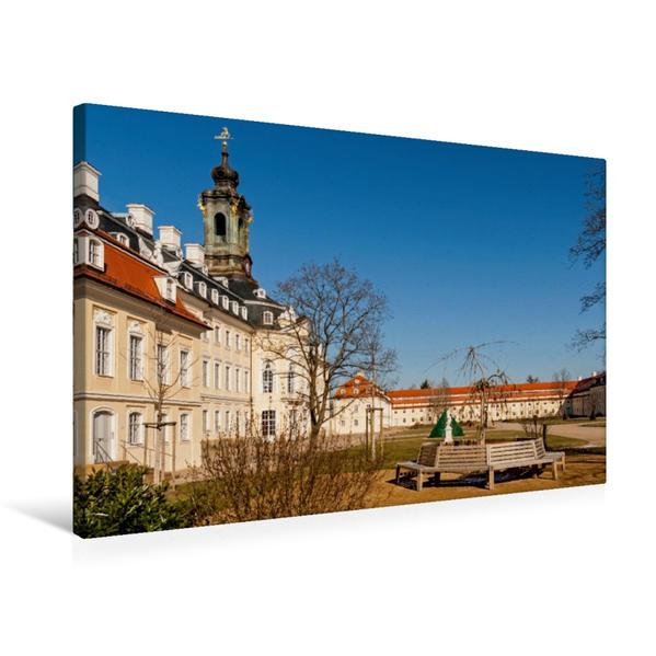 Premium Textil-Leinwand 75 cm x 50 cm quer, Schloss Hubertusburg in Wermsdorf | Wandbild, Bild auf Keilrahmen, Fertigbild auf echter Leinwand, Leinwanddruck - Coverbild