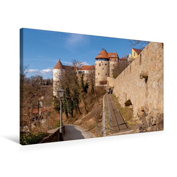 Premium Textil-Leinwand 75 cm x 50 cm quer, Stadtmauer am Mühltor in Bautzen | Wandbild, Bild auf Keilrahmen, Fertigbild auf echter Leinwand, Leinwanddruck - Coverbild