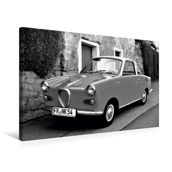 Premium Textil-Leinwand 75 cm x 50 cm quer, Ein Motiv aus dem Kalender Goggomobil Coupè 250 TS in schwarzweiss   Wandbild, Bild auf Keilrahmen, Fertigbild auf echter Leinwand, Leinwanddruck - Coverbild